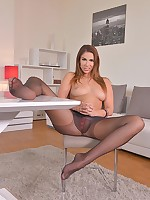 Horny Babe in Pantyhose: Flexible Toe Sucking On The Couch free photos and videos on HotLegsandFeet.com