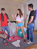 Post Workout Blowjob - She Sucks Two Cocks And Loves it free photos and videos on DDFNetwork.com
