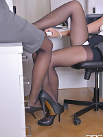 Sultry Office Hours - Lesbian Blondes Love Sucking Nylon free photos and videos on DDFNetwork.com